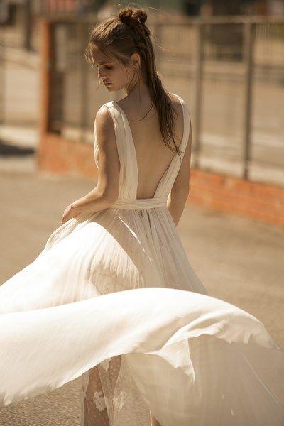vestido de novia en gasa de seda body interior espalda descubierta