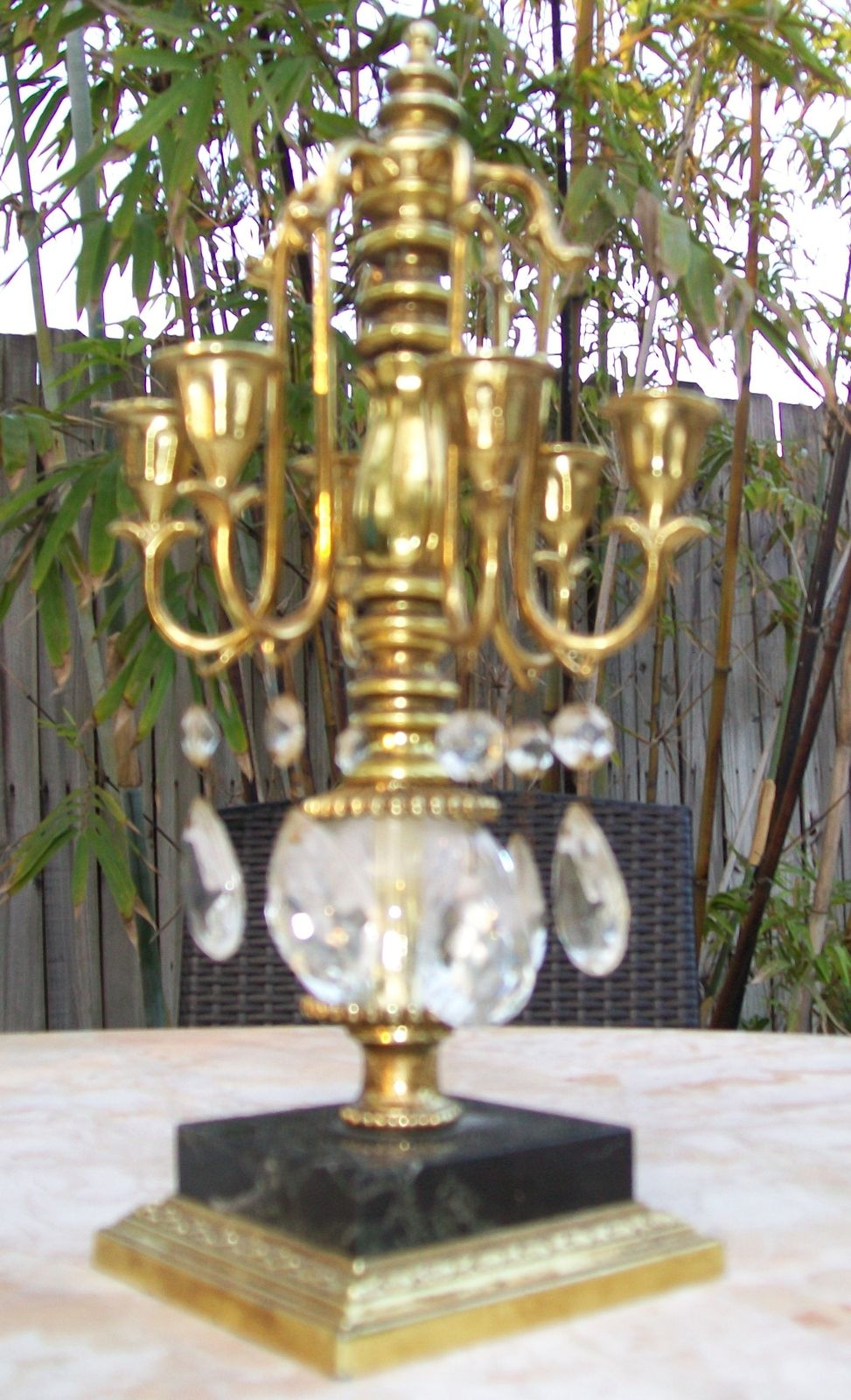 Vintage Dilly Mfg Brass 6 Arm Candle Stick Holder