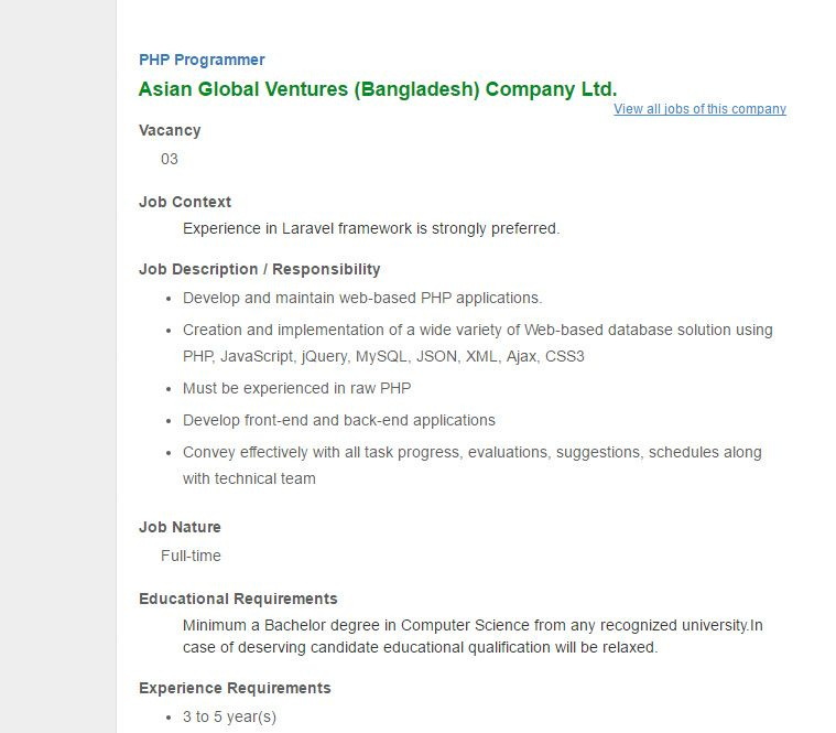 Asian Global Ventures (Bangladesh) Company Ltd - Post PHP - programmer job description