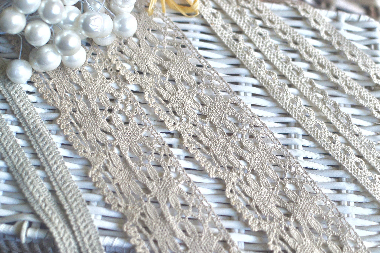 3 yds Gray crochet lace I Grey crochet lace I Crochet lace trim I Shabby chic lace I Vintage style lace I Crochet I Crochet lace I Lace by SixthCraft on Etsy
