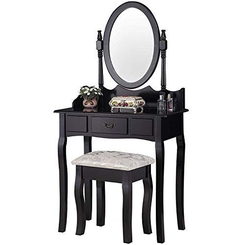 Vanity Table Set,Make-up Dressing Table with Oval Mirror ...