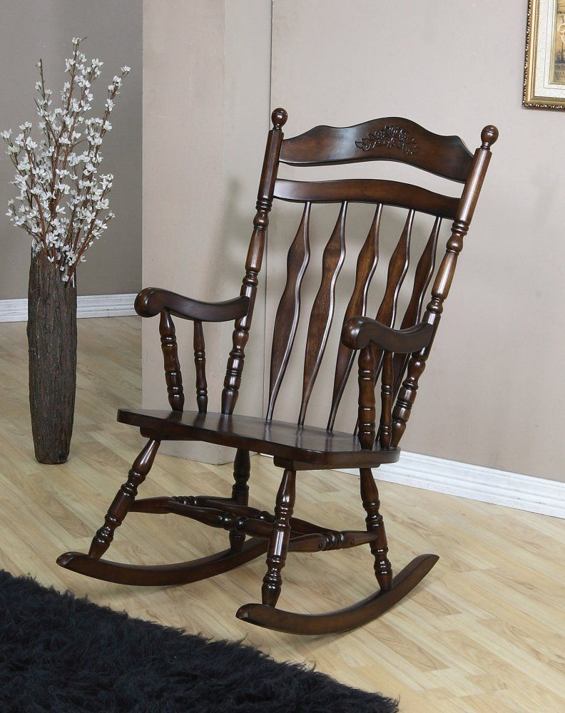 Amazon.com: Coaster Rocking Chair With Carved Detail In Walnut Finish: Home  U0026