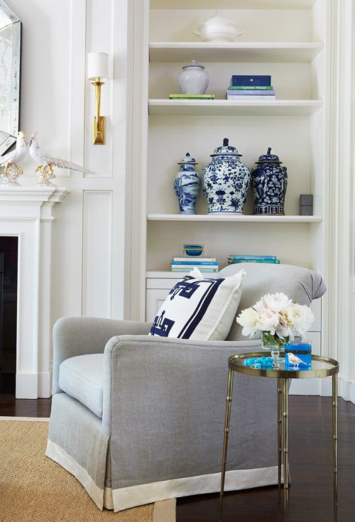 The Grey Adds Sophistication To The Blue And White Details Here In A Living  Room Designed By McGill Design Group. Love The Brass Bamboo Table Too Part 86