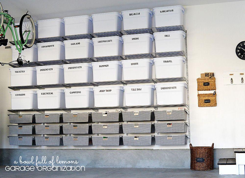 Garage organization with storage bins