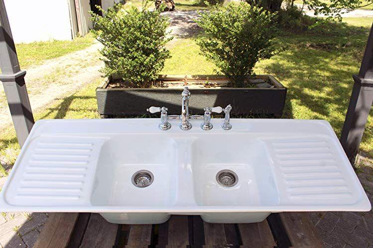 Amazon Com Large Double Basin Aqua Farm Sink Double Drainboard Drop In Cast Iron Kitchen Sink Package Handmade Cast Iron Kitchen Sinks Farm Sink Double Basin