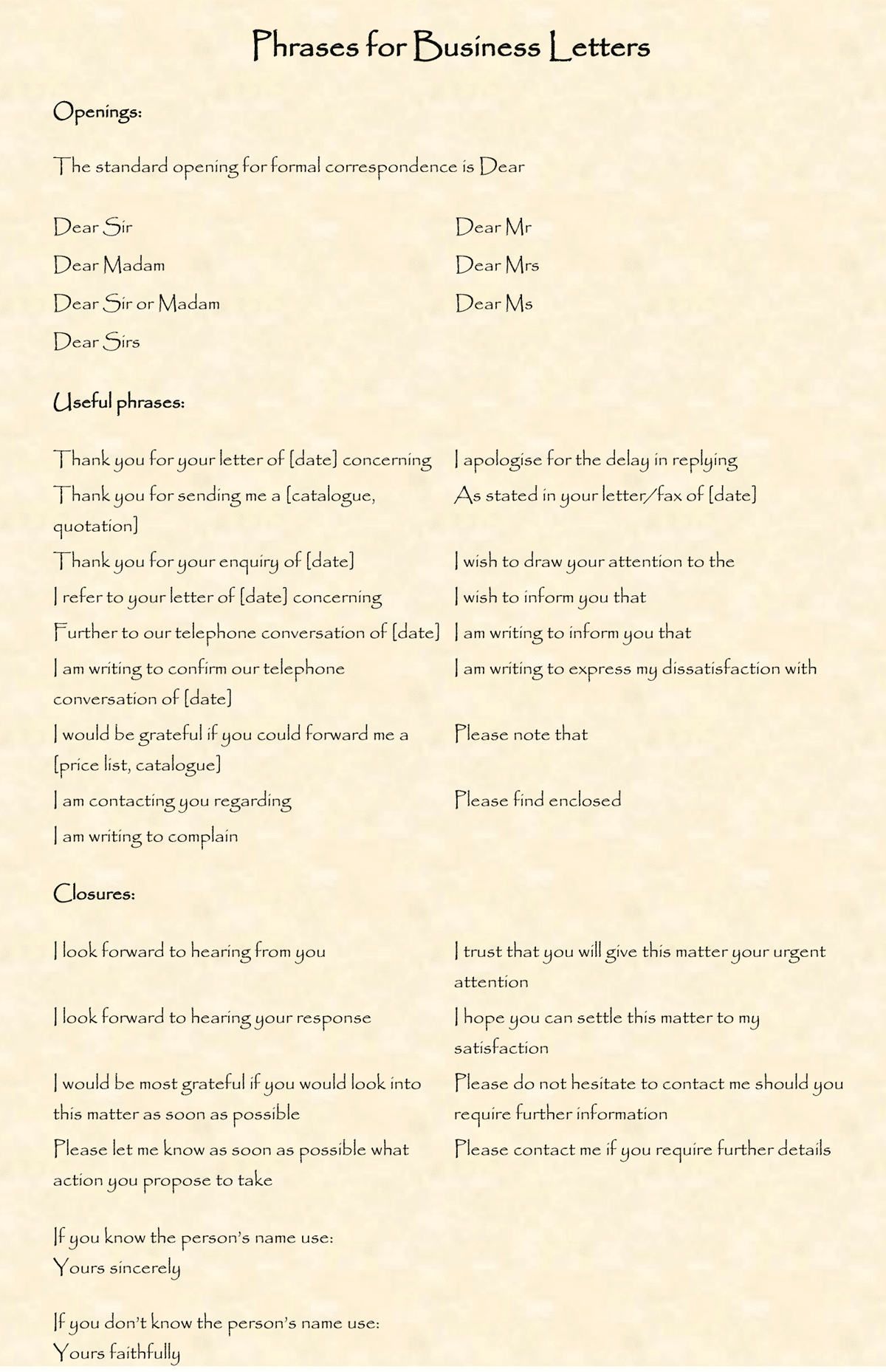 Useful Phrases and Vocabulary for Writing Letters in