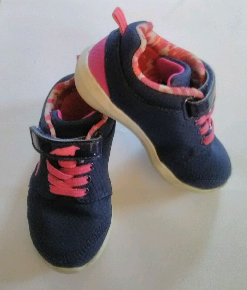 Avia Girls Toddler Tennis Shoes Navy Blue Hot Pink Velcro Strap Sz 7t Avia Athletic Tennis Shoes Velcro Straps Toddler Girl
