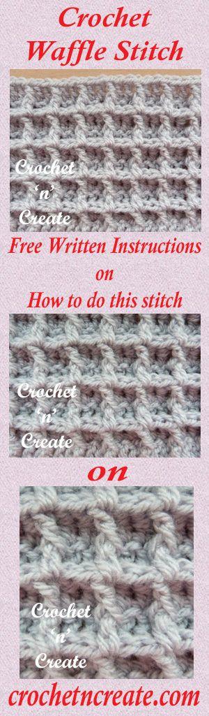 A free written crochet tutorial for waffle stitch. #crochet ...