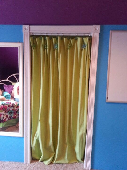 A cloth shower curtain is a great alternative for a closet door. Simply use a tension rod fun hooks and the curtain of your choice. & A cloth shower curtain is a great alternative for a closet door ...