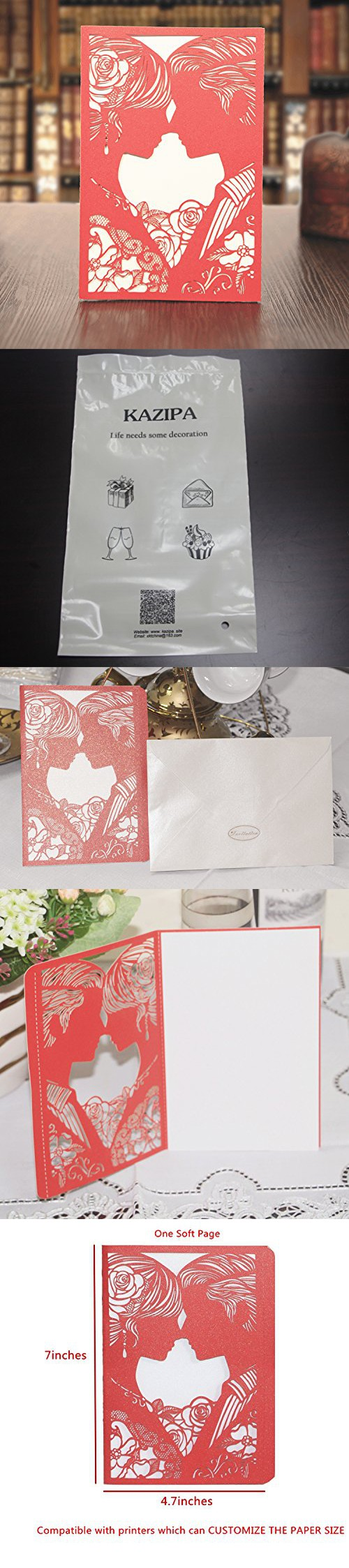 Kazipa 25 Pack Set Laser Cut Invitation Cards Lace Invitation Kit