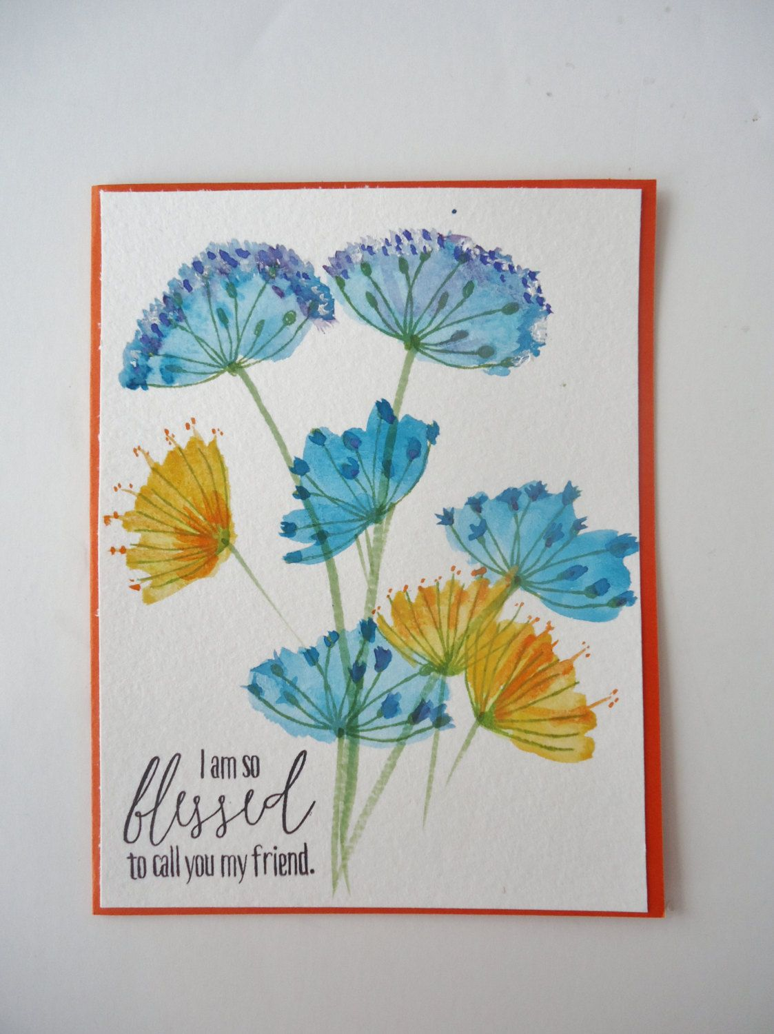Water color flowers friendship card handmade greeting card i am