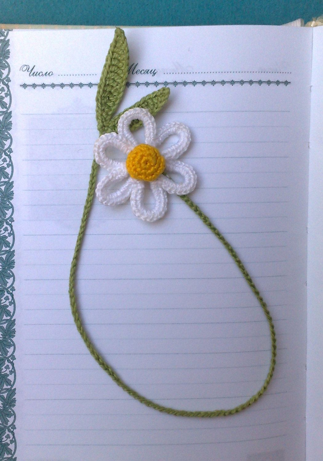 Daisy crochet bookmark Gift for children Organik gift Bookmark handmade