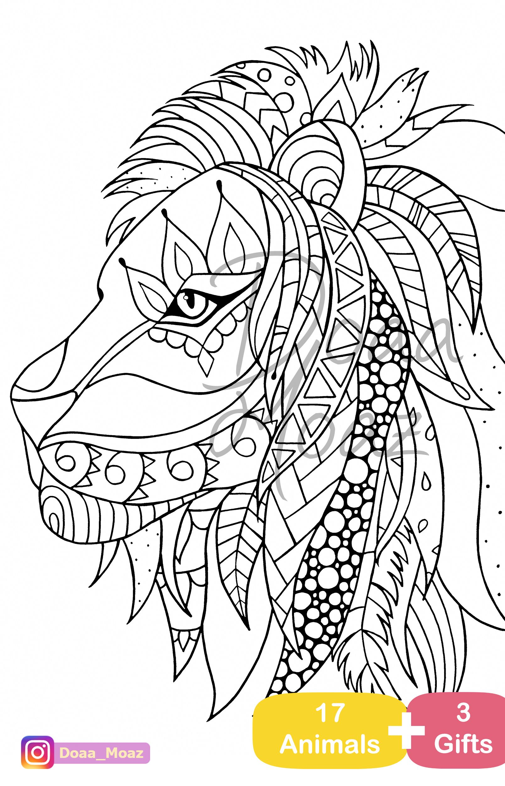 - Adult Coloring Book 17 Animals Coloring Pages Pdf Printable Anti