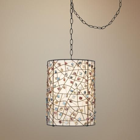 Pearly Colored Stone Bronze Finish Plug In Swag Pendant 47959 Lamps Plus Swag Lamp Bronze Finish Swag Light