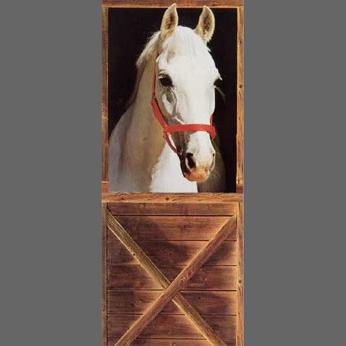 Barn horse sebastian trompe l 39 oeil door mural wallpaper 1 for Equestrian wall mural