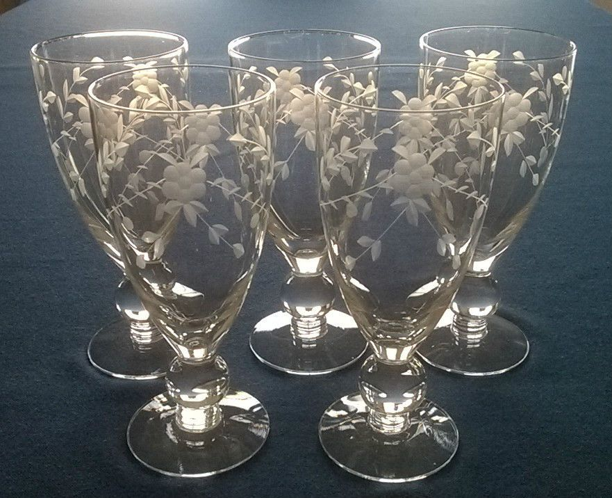 Set of 5 Vintage 10 oz. Etched Crystal Wine/Water Glasses w/Floral Pattern