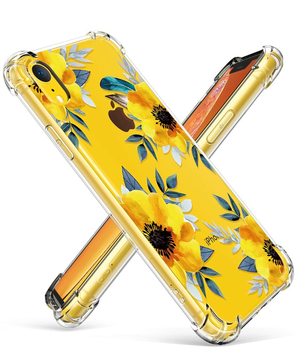 Cases for iphone xr clear sunflowersyellow floral