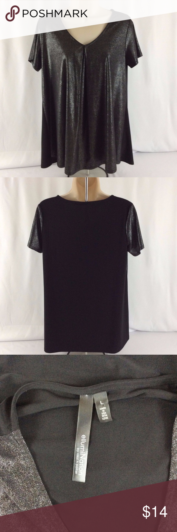 ec35172a3 EllumiNation Nikki H Parker Black Shimmer Shirt EllumiNation Nikki H Parker  Black Silver Shimmer Shirt Blouse Large Womens Loose Fit.