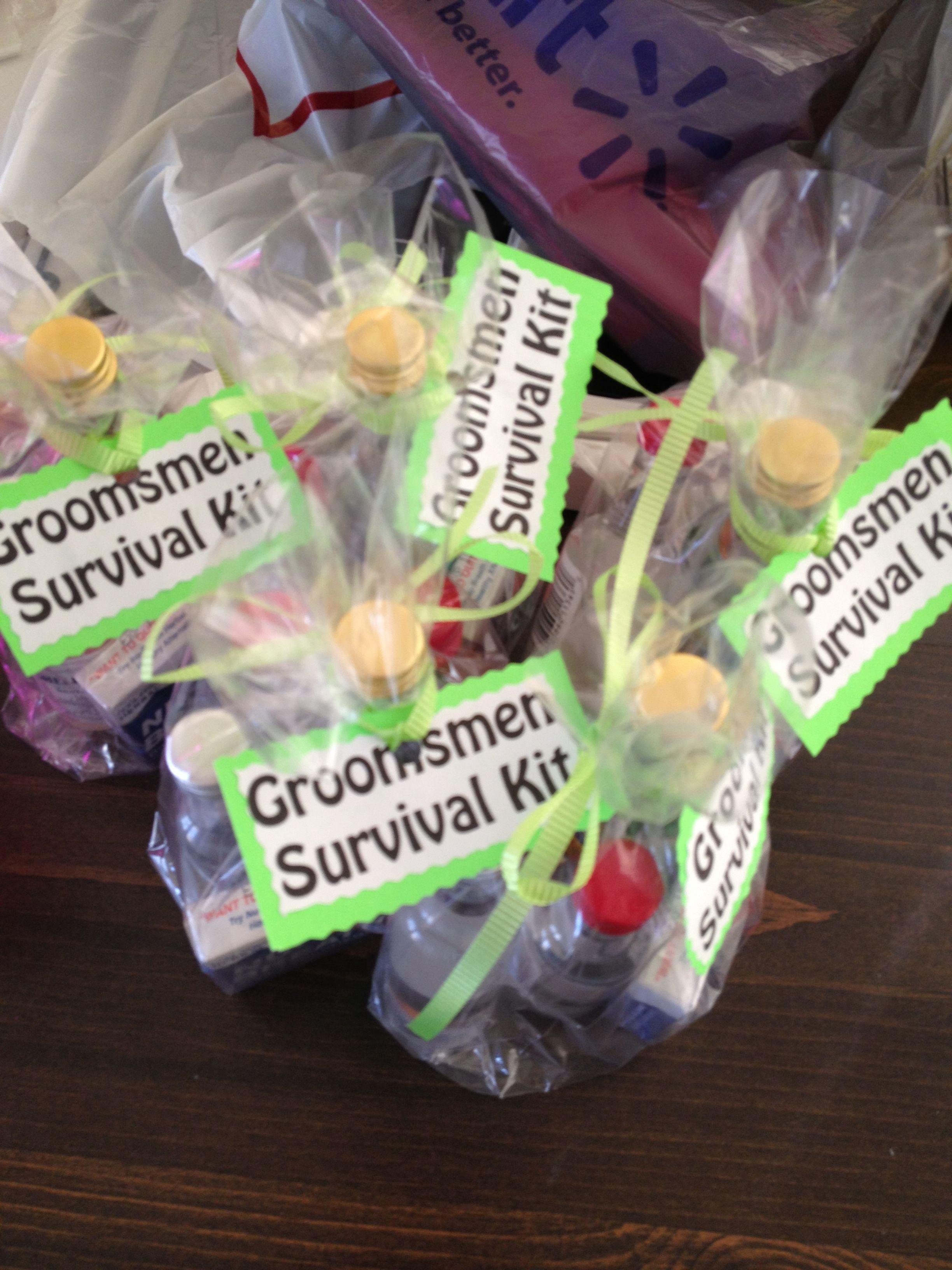 Groomsmen survival kits shot bottles and mints ash dan