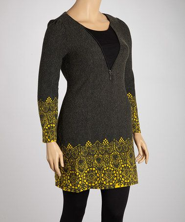 Take a look at this Black & Mustard Zipper Tunic - Plus by Sweater ...