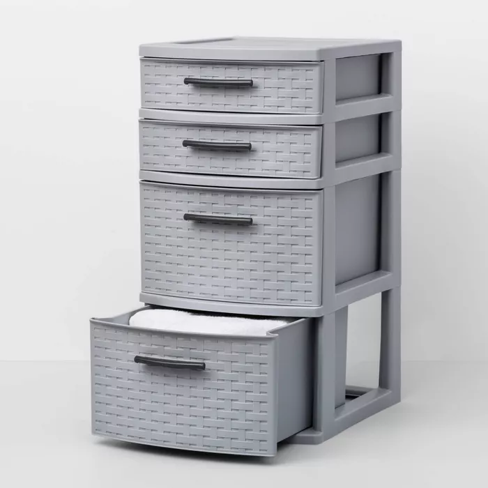 4 Medium Drawer Weave Tower Gray Room Essentials In 2020 Grey Room Room Essentials Plastic Drawer Makeover