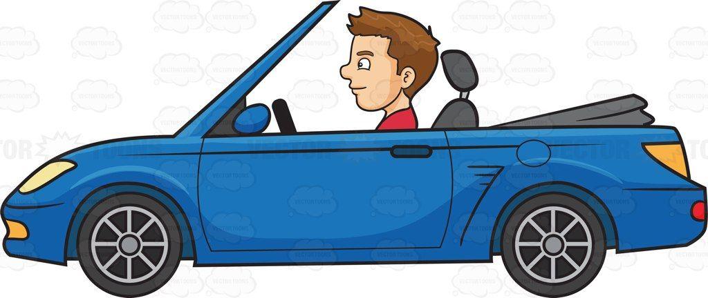 A Man Driving A Sports Convertible Car Cartoon Clipart Vector