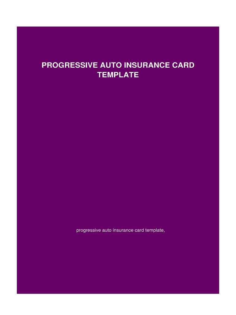 Blank Progressive Insurance Card Fill Online Printable With