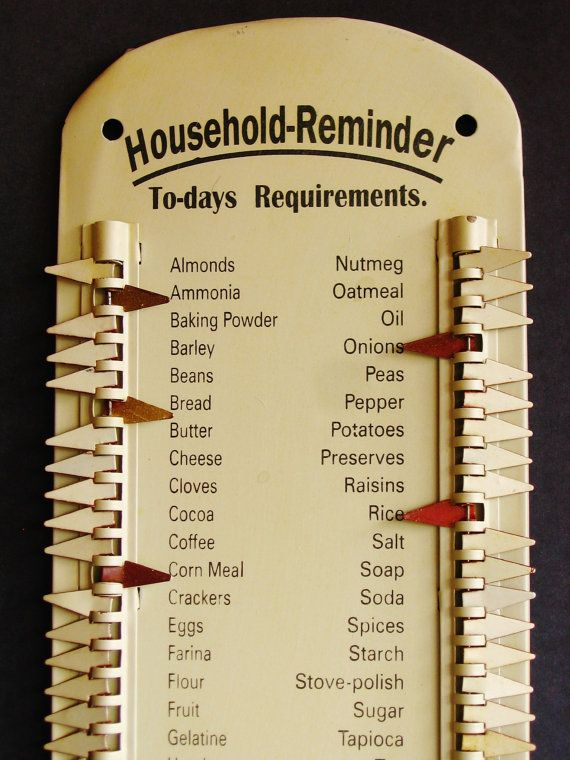 Vintage Tin Grocery List - Antique Metal Grocery List, Supply List ...
