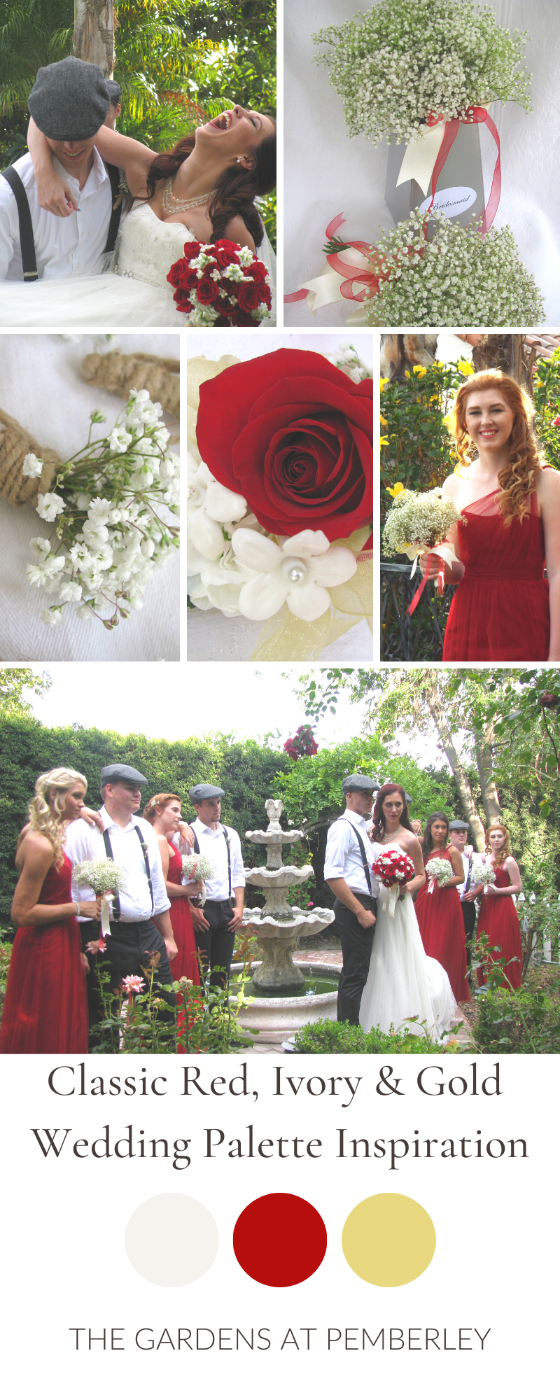 Simple Rustic Classic Romantic Red and Ivory Southern California Wedding Color Palette#california #classic #color #ivory #palette #red #romantic #rustic #simple #southern #wedding