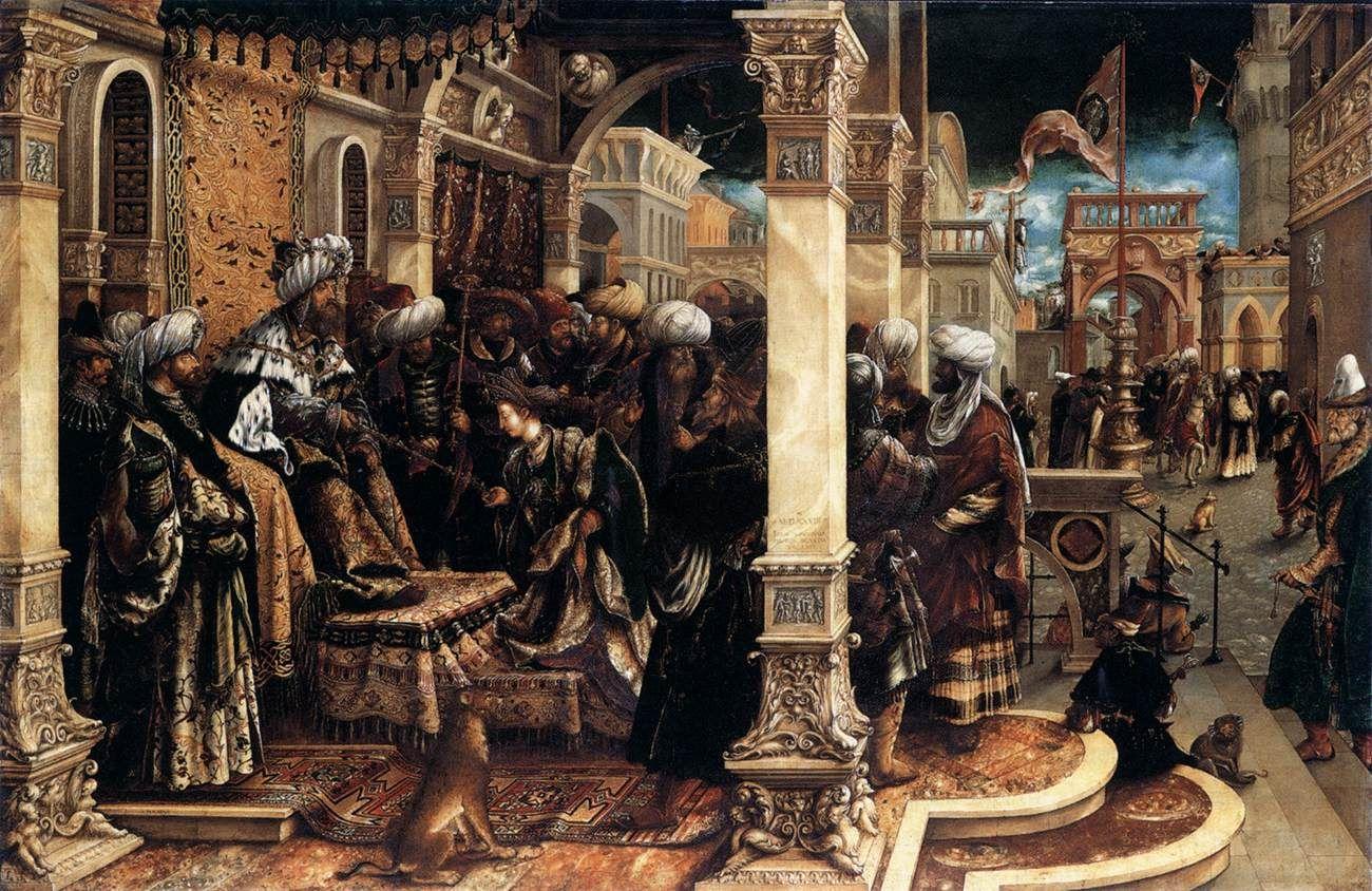 Esther voor Ahasverus ~ 1528 ~ Olieverf op hout ~ 103 x 156 cm. ~ Alte Pinakothek, München