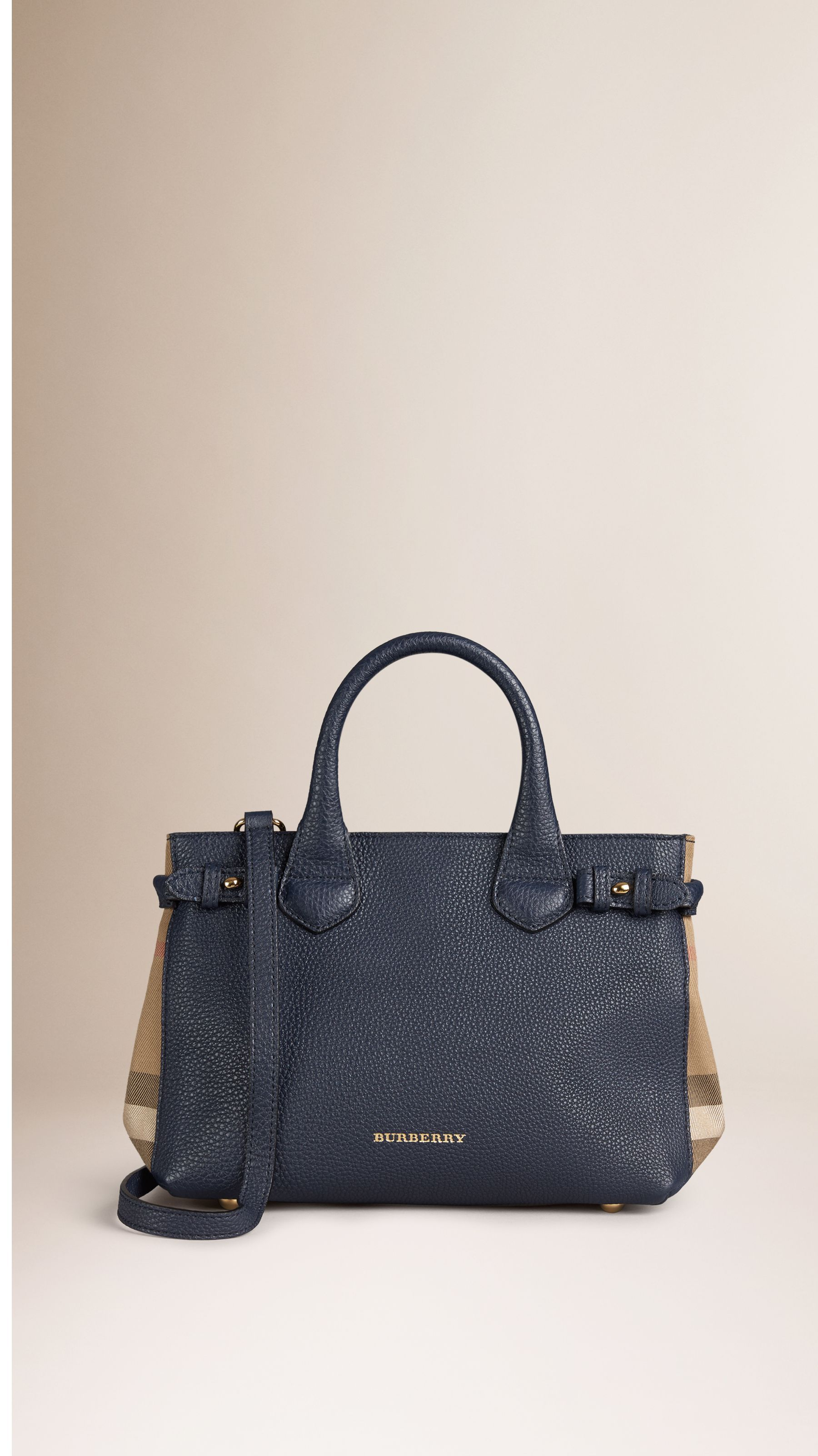 747b5d71f853 The Small Banner in Leather and House Check in Midnight Blue - Women ...