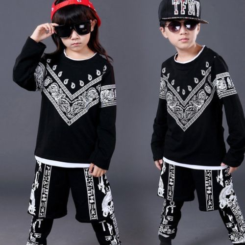 2PCS Kids Boys Hip Hop T-shirt Sweatshirts Tops Harem Pants Outfits Dancewear