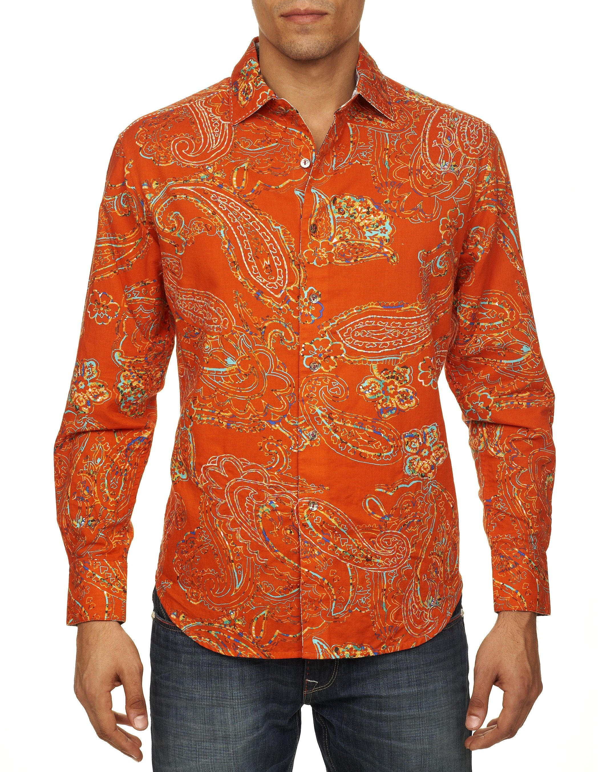 RS131060. The vibrant hue of this long sleeve sport shirt, coupled with the colorful paisley embroidered design, is an instant eye-catcher. Features contrast Old English print inside of neckband and quirky design on inside cuffs.