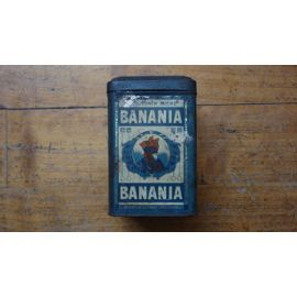 ancienne boite metal tole banania bleue 500g antillaise et tirailleur 11 frs vintage tins. Black Bedroom Furniture Sets. Home Design Ideas
