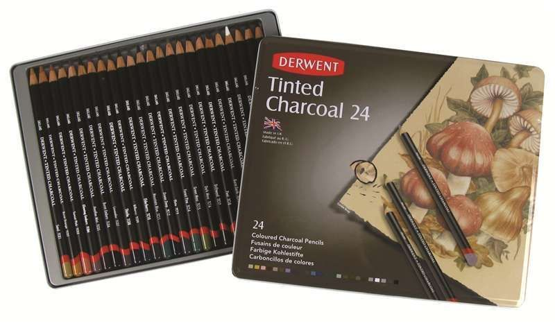 24 Tinted Soft Colours in Natural Shades Derwent Professional Drawing Pencils