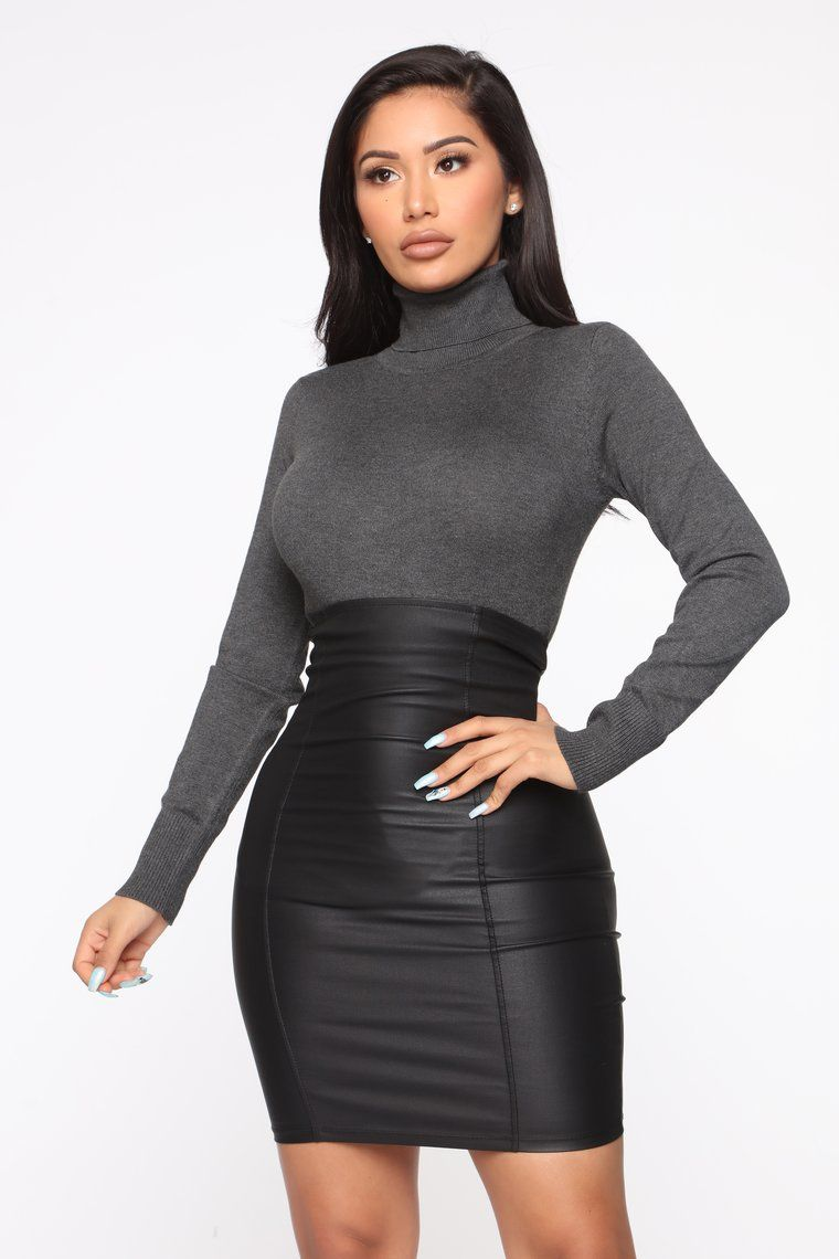 Kylie Ribbed Turtleneck Sweater Charcoal in 2020