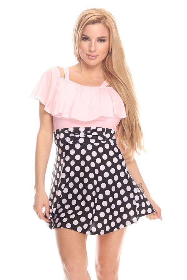 aba5e4cdb9 PINK POLKA DOT DESIGN SKIRT SHORT ONE PIECE SWIMSUIT | Make Some Day...