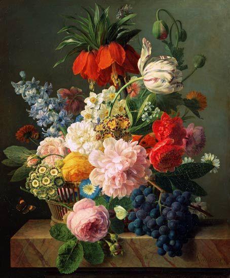 van Dael, Jan Frans - Blumen und Früchte. Still life painting with flowers and fruit.