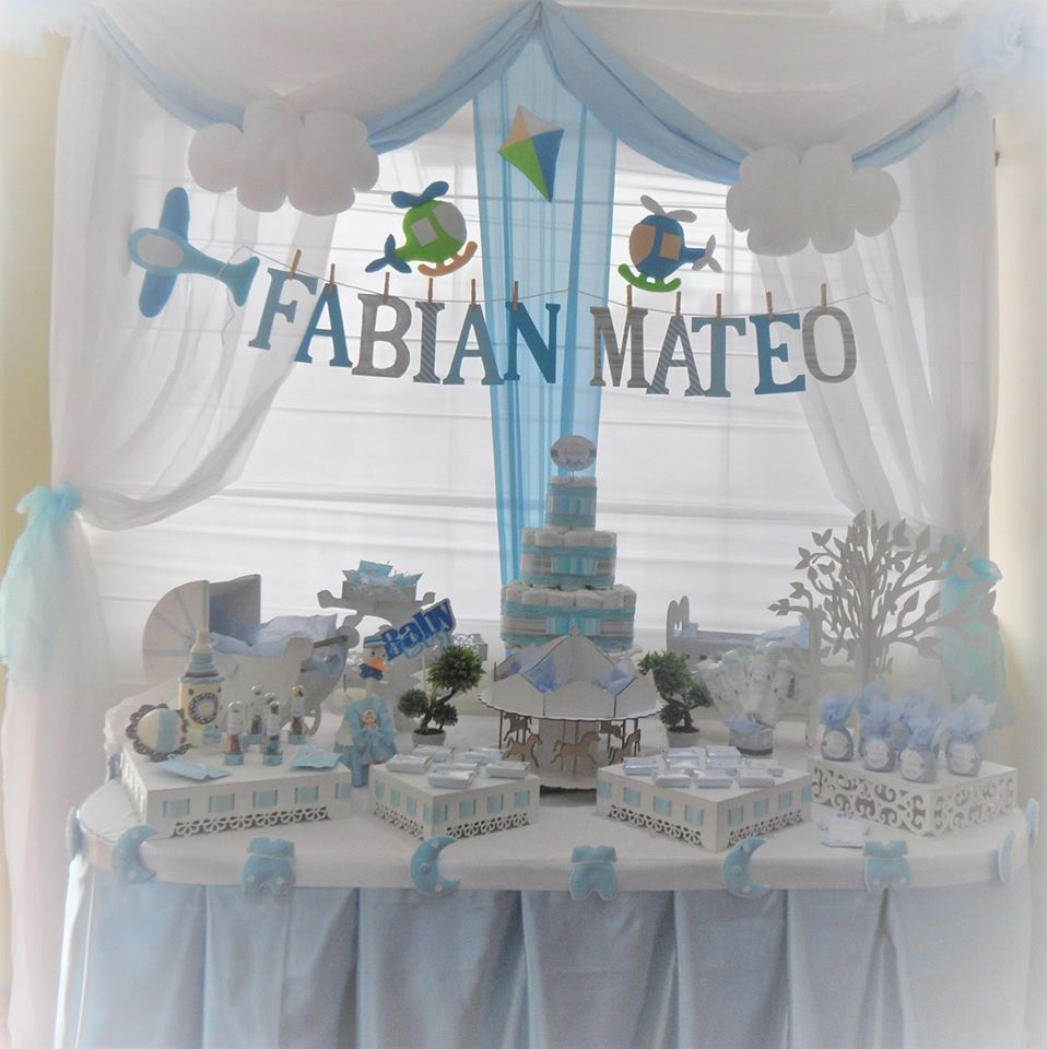 Decoraci n para baby shower ni o fabian mateo - Mesa de baby shower nino ...