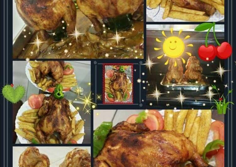 طريقة عمل دجاج مشوي بالفرن عالقنينة بالصور من وصفات أم أنس Recipe Chicken Dishes Chicken Meat Chickens
