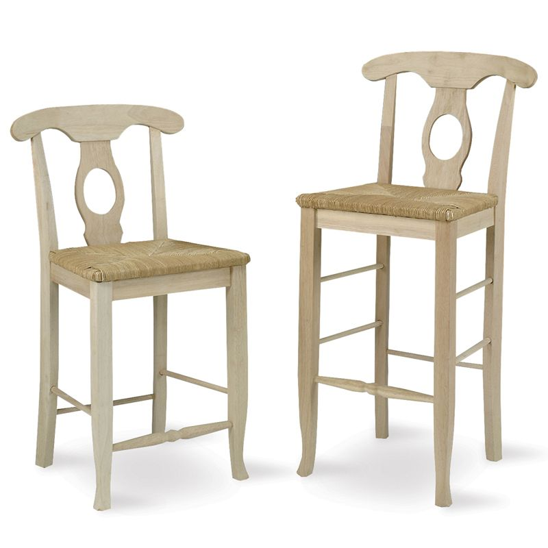 Unfinished Empire Napoleon Bar Stool With Rush Seat Stool Bar
