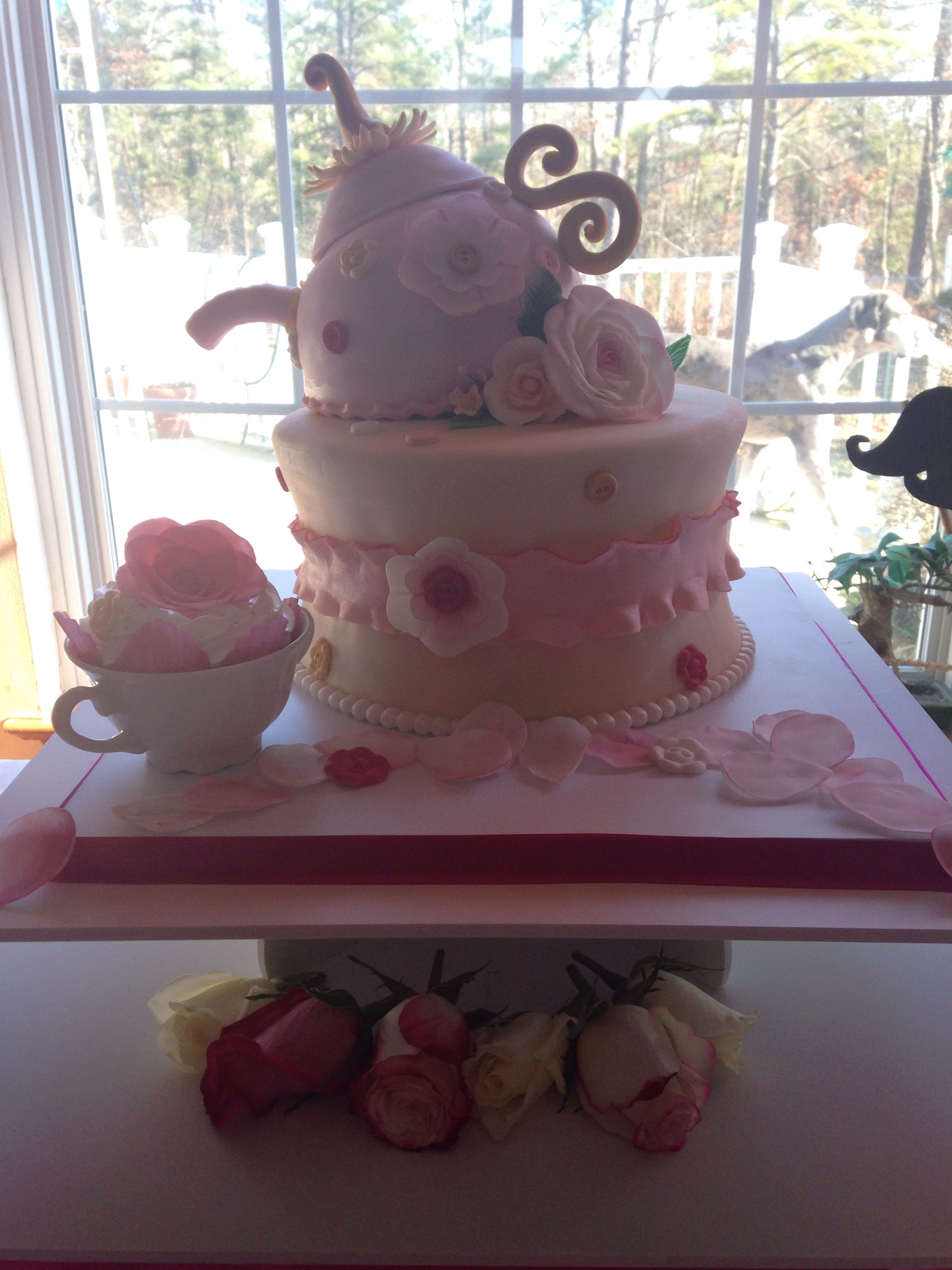My tea party bridal shower cake