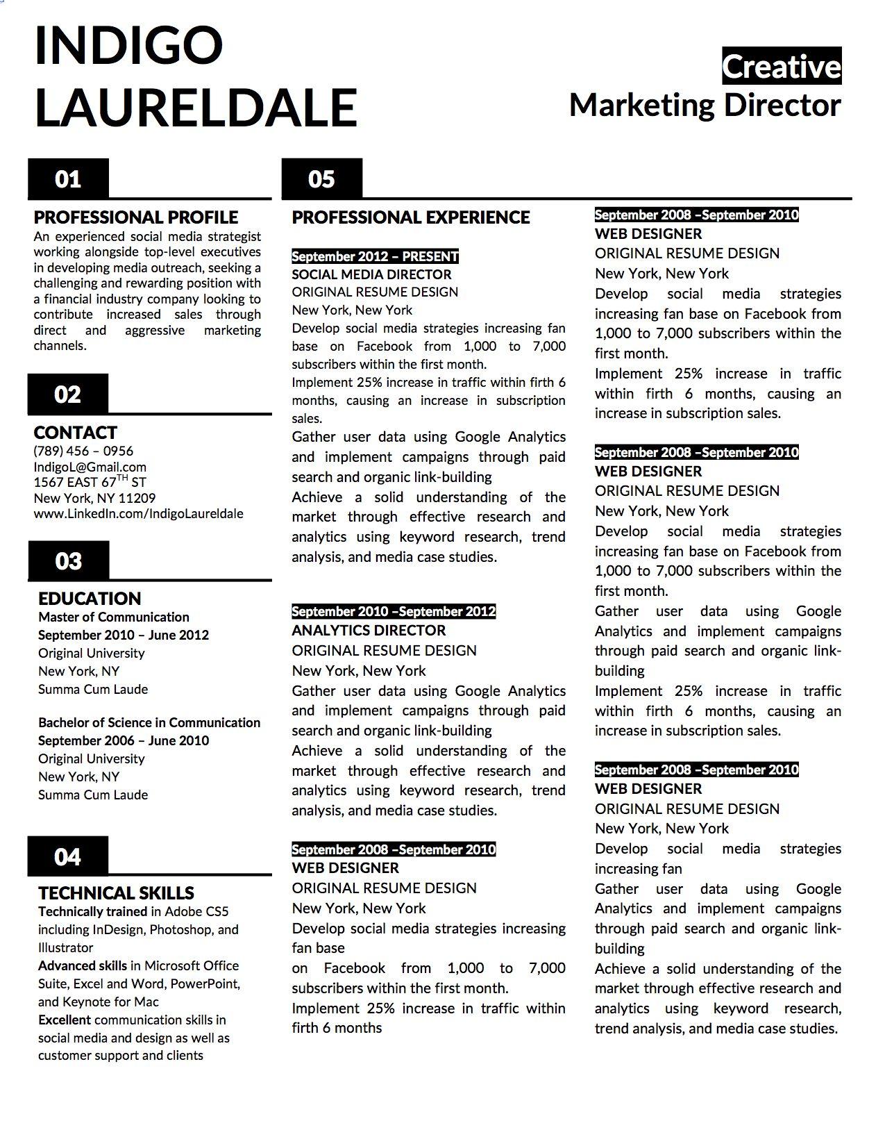 Indigo Lauderdale Resume Template for Microsoft Word   Indigo ...