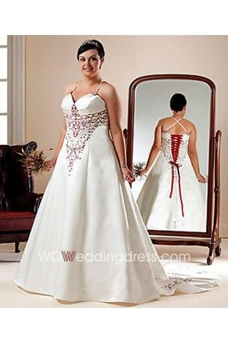 Cheap Sweetheart Embroidery A Line Plus Size Wedding Dress Shop