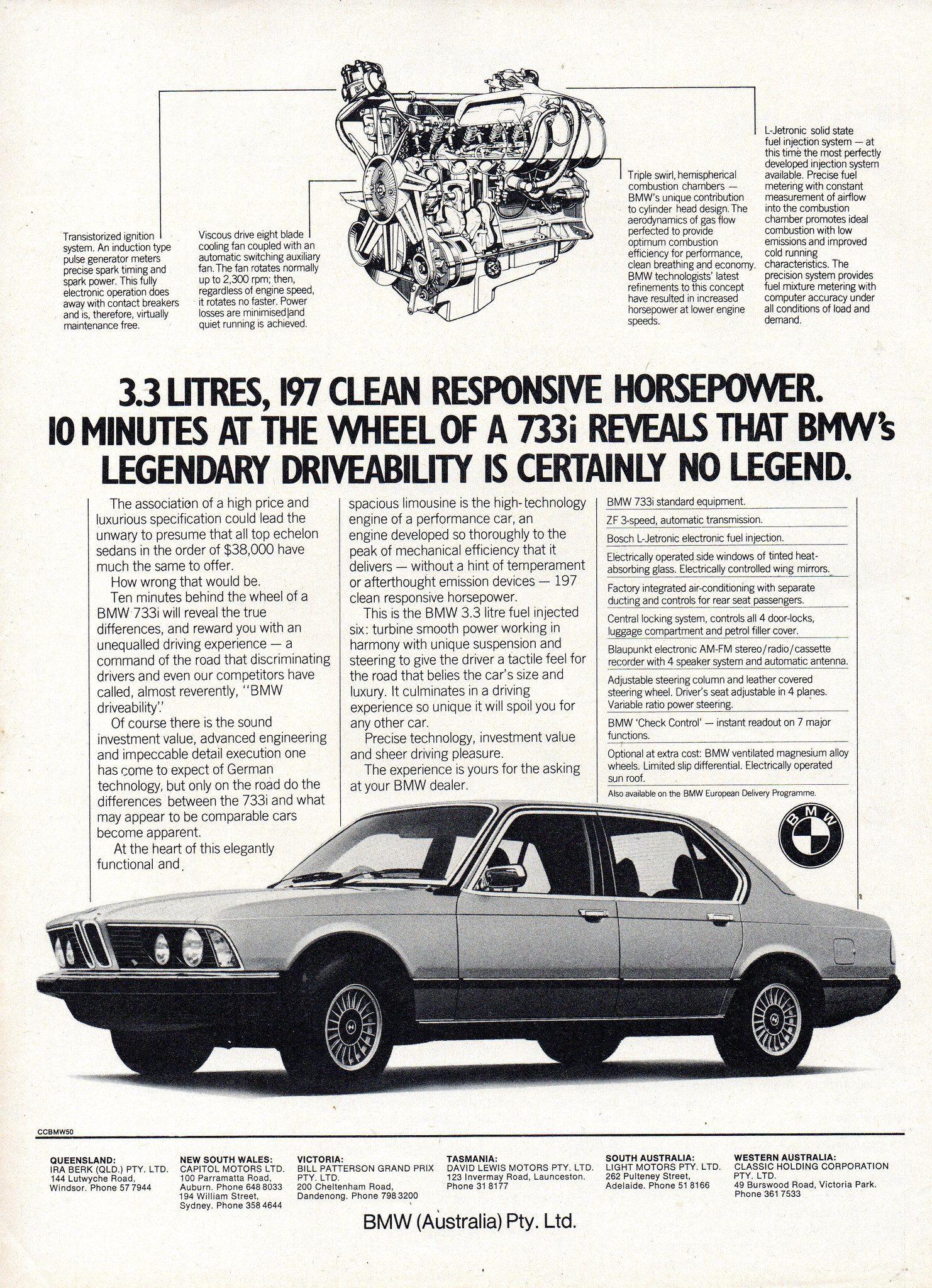 1978 Bmw 733i 3 3 Litre Sedan Aussie Original Magazine Advertisement Bmw Bmw Series Australian Cars