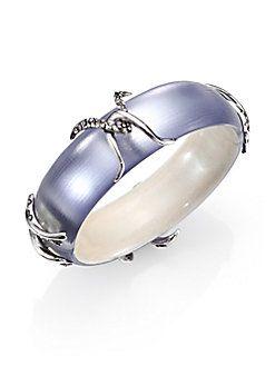 Alexis Bittar - Lucite & Pave Crystal X Motif Bangle Bracelet