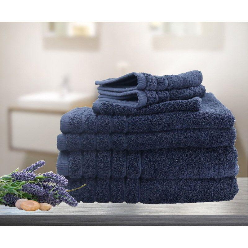 7pc Soft Egyptian Cotton Bath Towel Set In Navy Towel Set Bath