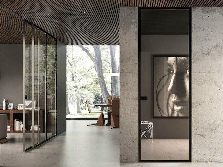 Porta de batente rente à parede de vidro BISYSTEM Série Design by GAROFOLI
