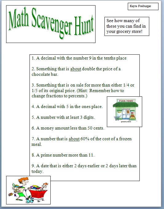 Math Scavenger Hunt Homeschool Math