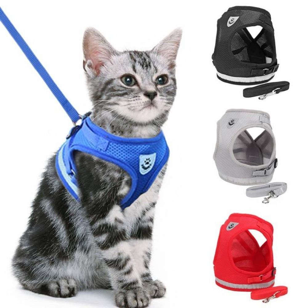 Cat Dog Adjustable Harness Vest Walking Lead Leash For Puppy Dogs Collar Polyester Mesh Harness For Small Medium Dog Cat Pet In 2020 Kitten Harness Dog Vest Harness Cat Harness